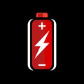 Red AA battery charge icon. battery charge sign. battery charge symbol. Battery on black background