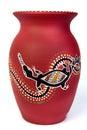 Red aboriginal vase Stock Photos