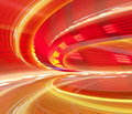 Red abstract blurred speed motion urban highway tunnel moving toward light computer generated illustration Royalty Free Stock Images