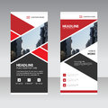 Red Abstract Business Roll Up Banner flat design template ,Abstract Geometric banner template Vector illustration set