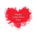 Red Abstract Triangle Geometrical Heart on white background. Happy Valentine's Day Greeting Card.