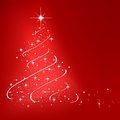 Red abstract winter background with stars christmas tree Stock Image