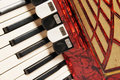 Red accordion, close up Royalty Free Stock Photo