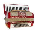 Red accordion musical instrument play music outdated device Stock Photography