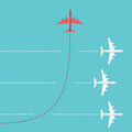 Red airplane changing direction Royalty Free Stock Photo