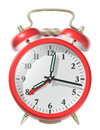 Red alarm clock ringing d render Stock Image