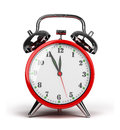 Red alarm clock shiny d image white background Royalty Free Stock Image