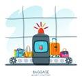 Red alarm siren on scanner warns of dangerous baggage. Vector hand drawn illustration.