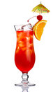 Red alcohol cocktail in with orange slice isolated Royalty Free Stock Images