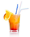 Red alcohol cocktail with orange slice isolated Stock Image