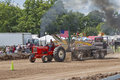 Red Allis Chalmers Tractor pulling weights Royalty Free Stock Image
