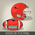 Red american football helmet and ball Royalty Free Stock Image