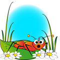 Red ant and daisy - Kid Illustration Royalty Free Stock Image