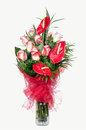 Red Anthurium and  Pink Roses Stock Photography