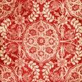 Red Antique Floral Damask Background