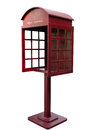 Red antique phone booth on white background with path Royalty Free Stock Images