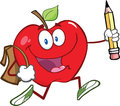 Red apple character with school bag and pencil goe happy goes to Royalty Free Stock Images