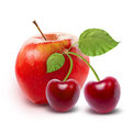 Red Apple and cherry isolated with clipping path Royalty Free Stock Photo