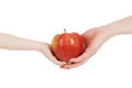 Red apple in child and mommy hands isolated Stock Photos