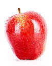 Red apple closeup with waterdrops isolated Royalty Free Stock Photo