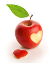 Red apple with cut heart isolated on white Stock Photography