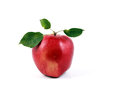 Red apple fresh with leaf isolated on white background Stock Photos