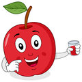 Red apple with fresh squeezed juice a cheerful cartoon character smiling and holding a glass a isolated on white background eps Royalty Free Stock Photos