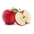 Red apple with green leaf and apple slice. Vector realistic illustration. Fresh fruit