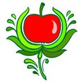 Red apple hand drawn illustration in ukrainian folk style Stock Images