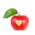 Red apple with heart on it Stock Photos