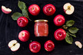 Red apple jam ingredient top view on black Royalty Free Stock Images