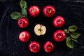 Red apple jam ingredient top view on black Royalty Free Stock Photo