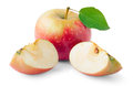 Red apple with leaf and slice Royalty Free Stock Photo