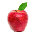 Red apple with leaf on a white background Stock Photo