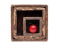 Red apple in old wooden box isolated on white background Royalty Free Stock Photography