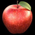 Red apple over black background clipping path included Stock Photos