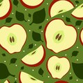 Seamless fruit pattern with apples and leaves