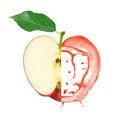 Red apple splash photo of with leaf slice and isolated on white Stock Image