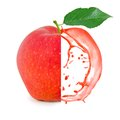 Red apple splash photo of with leaf slice and isolated on white Stock Images