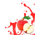 Red apple splash photo of with leaf slice and isolated on white Stock Photography