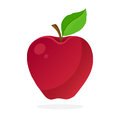 Red apple with stem and leaf