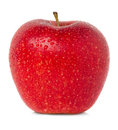 Red apple with water drops isolated Stock Photos
