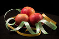 Red apples and color ribbons Royalty Free Stock Image