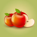Red apples with cut vector illustration eps transparent objects and opacity masks used for shadows and lights drawing Royalty Free Stock Photo