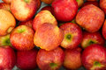 Red apples fresh displayed in fresh market and ready for sales Royalty Free Stock Images