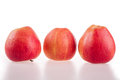 Red apples on an isolated white background Royalty Free Stock Photos
