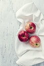 Red apples on kitchen table from above Royalty Free Stock Images