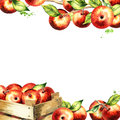 Red apples and leaves square background. Watercolor template
