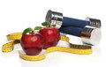 Red apples and a measuring tape over white Stock Image