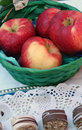 Red apples picture of in a wooden basket Stock Image
